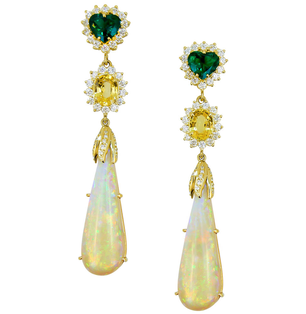 emerald diamond and opal earrings
