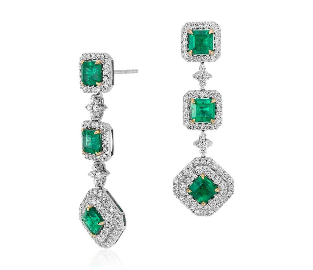 emerald and diamond square cut earrings