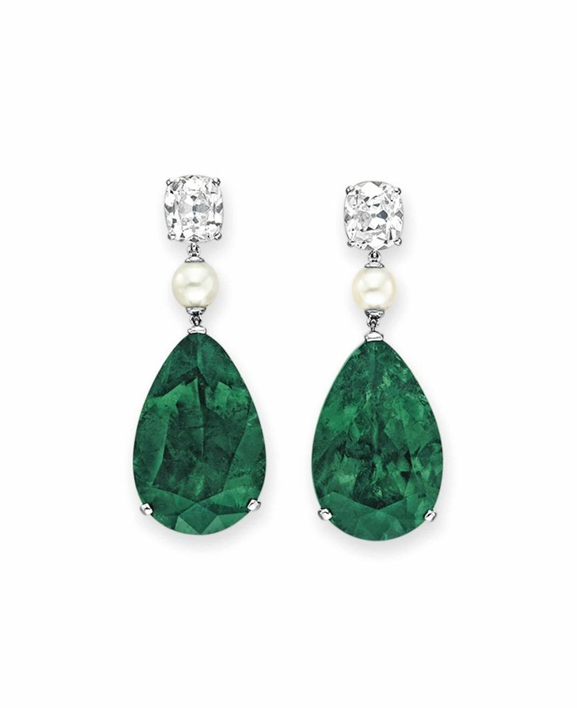 emerald diamond and pearl earrings