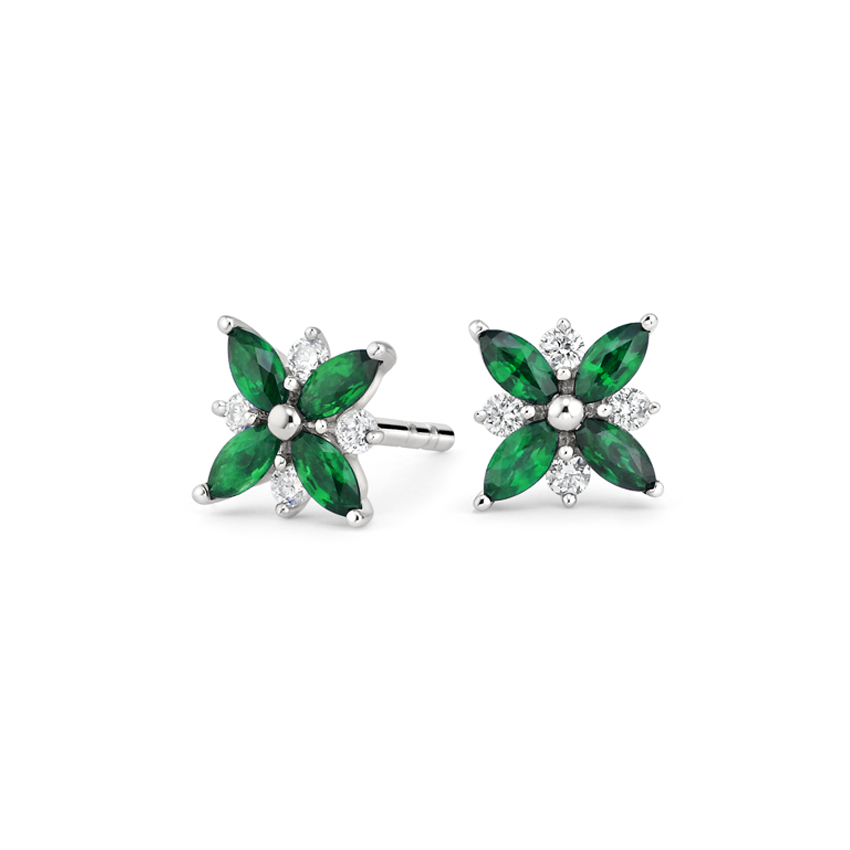 emerald and diamond marquise cut earrings