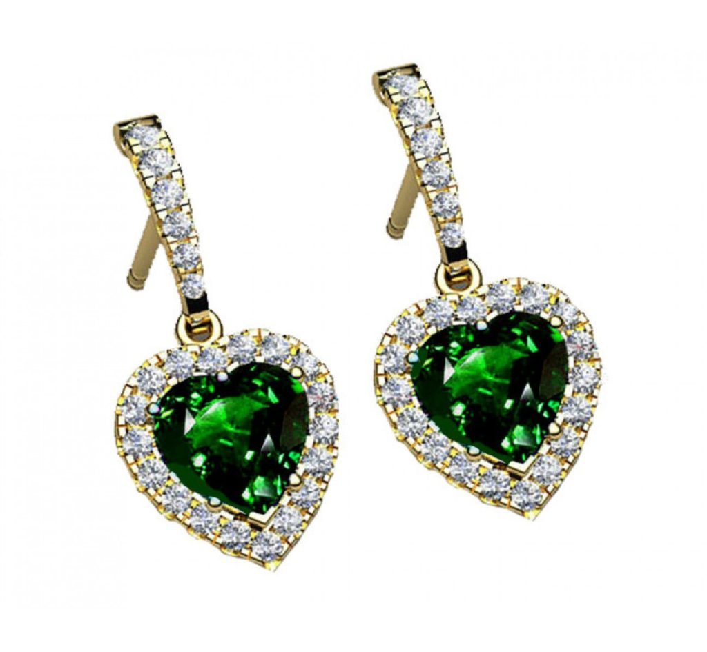 emerald and diamond heart earrings