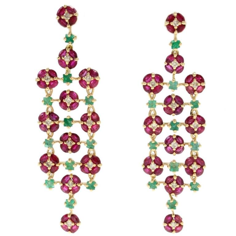 emerald diamond and ruby earrings