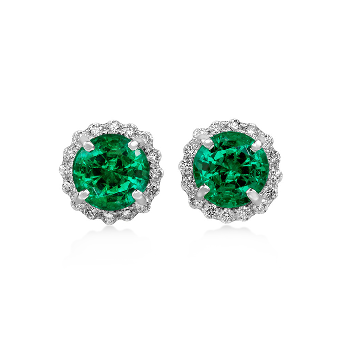 emerald and diamond round cut earrings