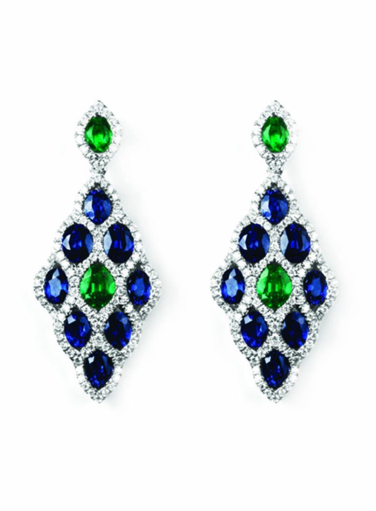 emerald diamond and sapphire earrings