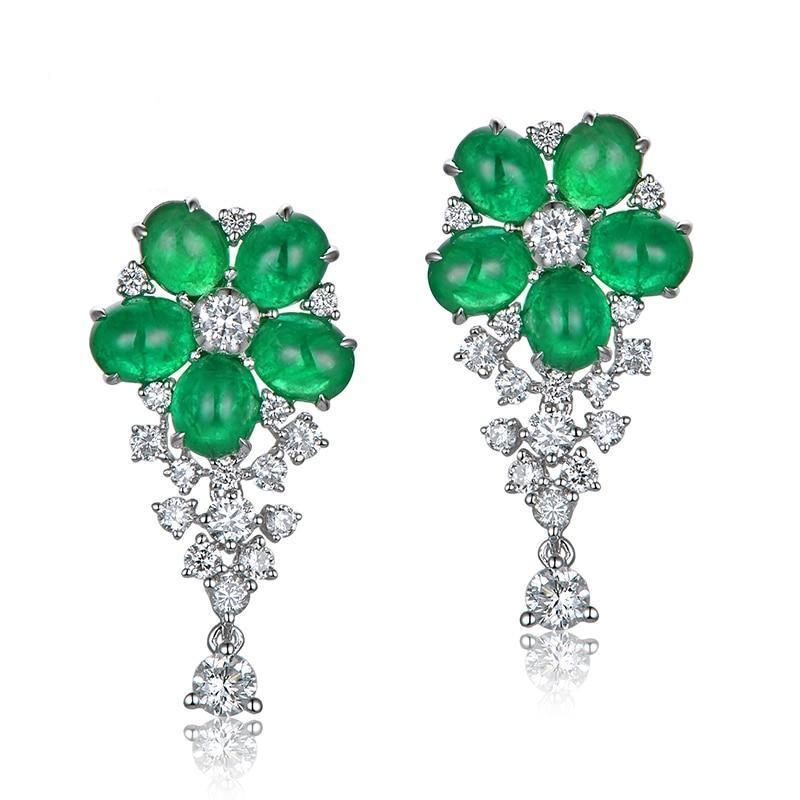 emerald and diamond flower earrings