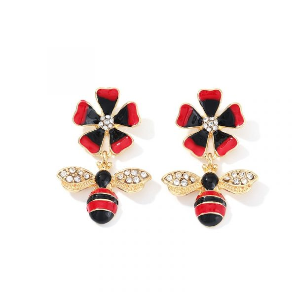 insect flower earrings
