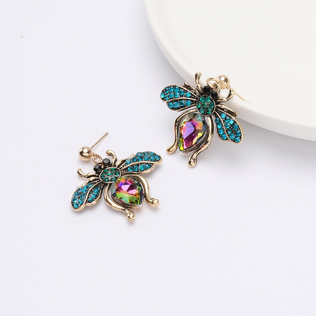 rhinestone insect earrings