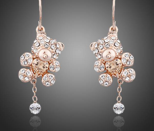 zircon bear earrings