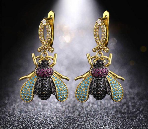 zircon insect earrings