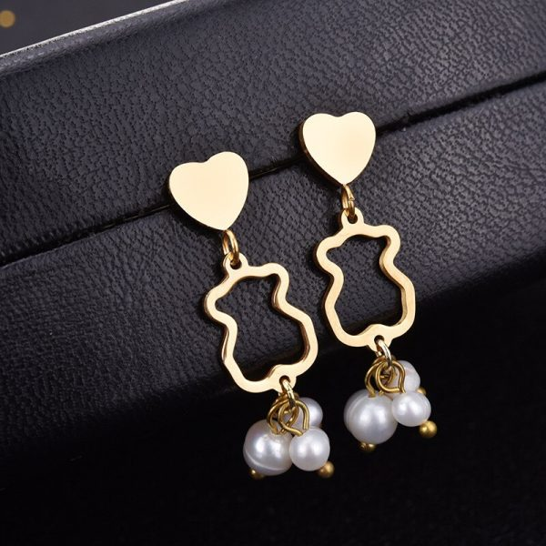 minimalist bear earrings