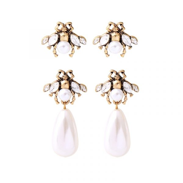 insect pearl earrings